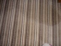 Brown/beige/cream thinly stripped heavy duty carpet (foam backed) - brand new