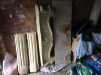 Plaster fireplace with marble hearth
