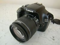 Perfect condition Canon 1100D DSLR with lens, vintage style leather case, battery and charger