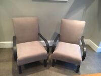 Pair of Parker knoll bentwood armchairs , grey armchairs , 'as new' new upholstery, free sheepskin
