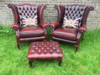 Stunning Pair Of Chesterfield WIDE Queen Anne Wing Back Chairs & FootStool Oxblood Leather Delivery