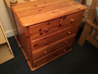 solid pine chest of drawers in antique pine varnish
