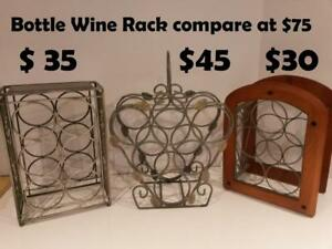 6 Bottle Leaf Motif Wrought Iron vine Rack