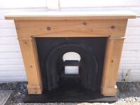 Pine Fire Surround with Cast Iron Fire inset and Marble Hearth