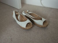 White heeled sandle shoe size 5