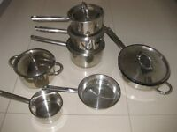 Professional cookware pan set in stainless steel T304. Cost £300 new!