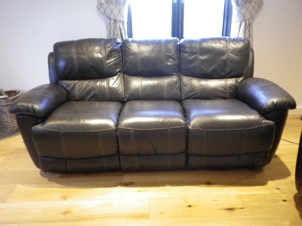 Leather Sofa 3 Seater Dark Brown Electric Recliner In