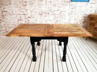 Farmhouse Dining Table Drop Leaf Painted Finish Extending - Folding, Ergonomic, Space Saving