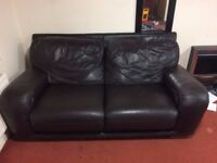 Wide 2 seater leather (faux) sofa