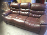 leather 3 seater recliner sofa, chestnut brown. almost as new.