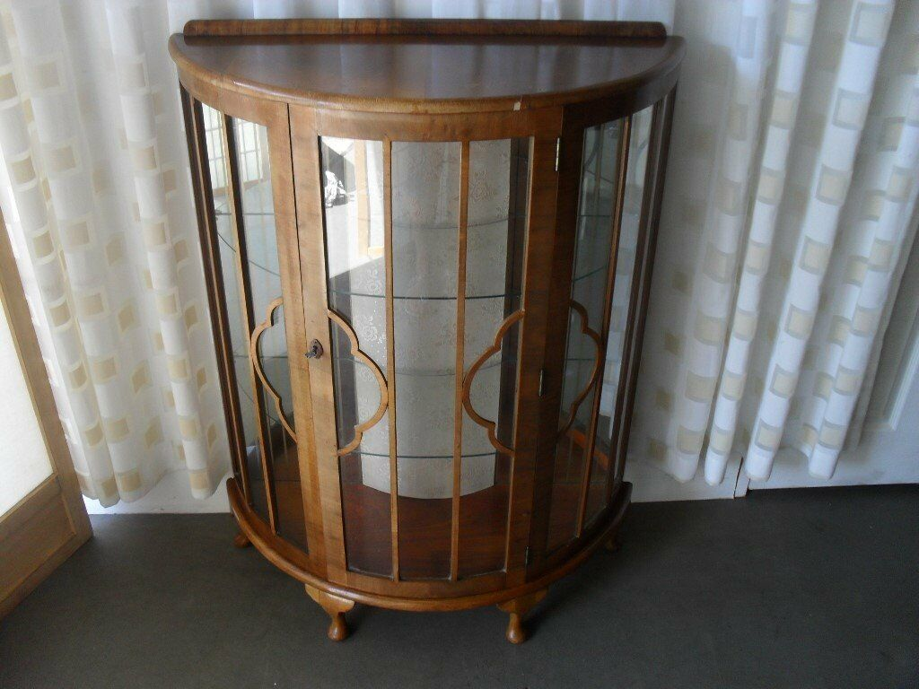 Vintage Gany Veneer Half Moon Mirror Back Display Cabinet Tail Key Free Delivery