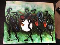 Painting of jazz band on canvas. Small, lightweight.