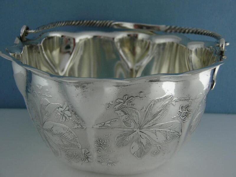 Sterling WHITING handled Sugar Basket / Dish AESTHETIC w/ acid etched florals