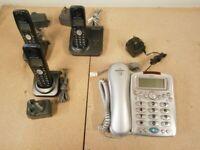 PANASONIC HANDS FREE PHONES + BASE STATION AT 3 ITEMS + LARGE BUTTON BINATONE PHONE