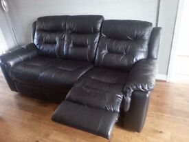 DFS. Black Leather 3 Seater Recliner with two Garrick Power Recliner Chairs
