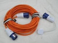 ELECTRIC HOOK-UP CABLE, 25 MTS, 2.5 CABLE, PLUS 240 ADAPTER, FOR CAMPERVAN, MOTORHOME, CARAVAN, BOAT