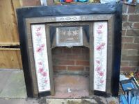 VICTORIAN CAST IRON TILED FIREPLACE GOOD CONDITION