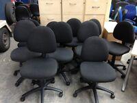 10 X BLACK FABRIC OFFICE SWIVEL CHAIRS, MEETING, RECEPTION WAITING ROOM OPERATOR