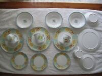 Set of Vintage Melamine dinner plates 9.5 inches diameter, saucers 6.5 inches diameter, bowls 7 inc
