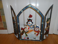 CHRISTMAS Fireguard With Snowman Christmas Tree Ornamental Decoration