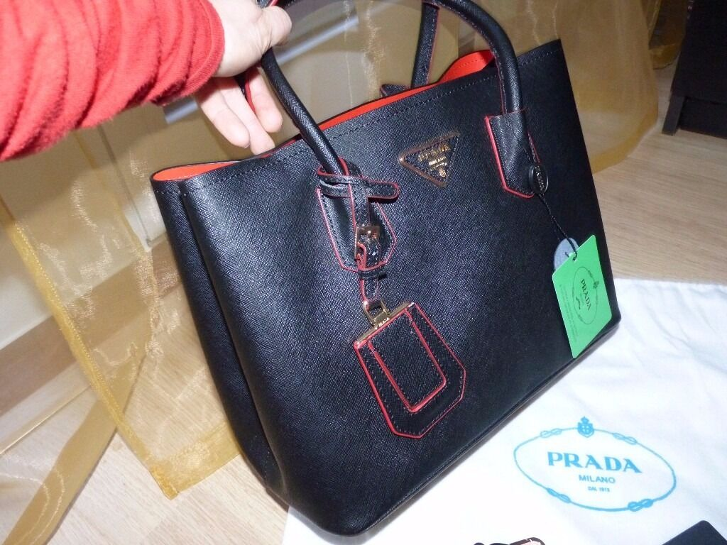 676be2270111 ... promo code for prada tote black saffiano leather double bag red inside  brand new b5368 8fa32
