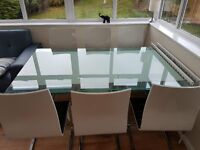 Italian, Glass, Extendable dining table with sculpted base, including eight chairs
