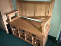 Beautiful Oak Oldham Monk's Bench with storage below.