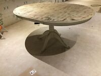 Shabby chic solid wood dining table - french cream distressed finish