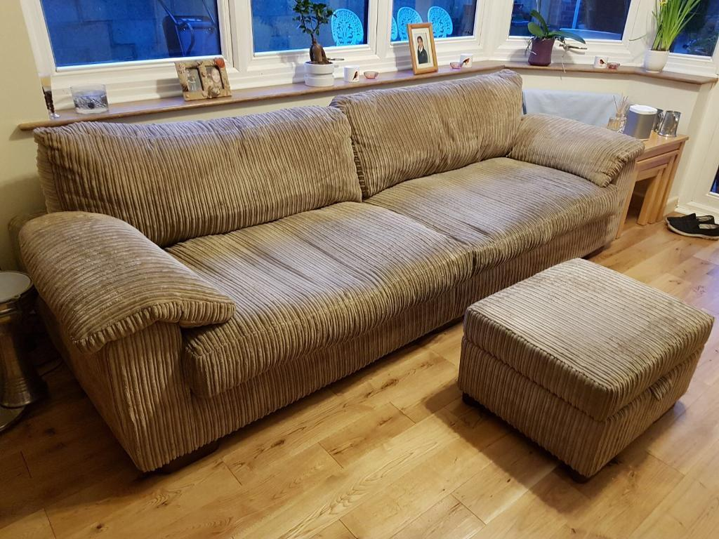 4 seater sofa with storage footstool