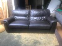 Fantastic dark brown leather sofa