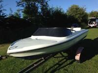 14ft fletcher speedboat with 40hp mercury engine and trailer