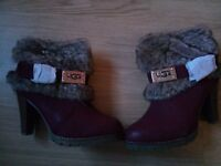 Ugg Boots Heel Faux Fur in Red