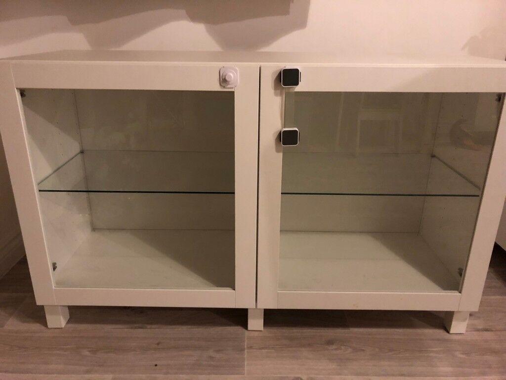 Ikea Besta Storage Unit White Floor Or Wall Glass Doors Rrp145 In