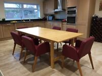 IKEA Extending Dining Table & Eight Leather Chairs