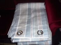 """Ashley Wilde pair of eyelet curtains 65"""" W x 88"""" L, lined grey/beige brand new curtains!"""