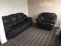 Quality leather 3 seater + 2 matching arm chairs
