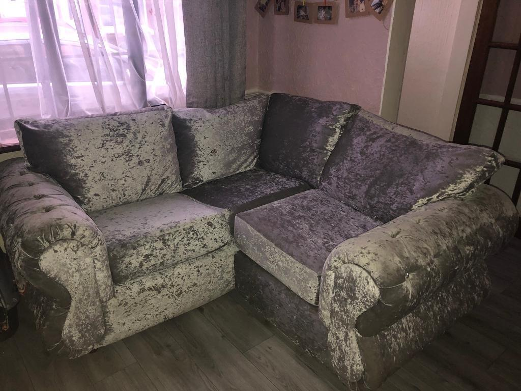 Small Silver Crushed Velvet Corner Sofa In Wallasey Merseyside