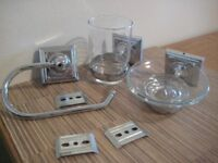 Bathroom fittings in chrome as new, soap dish, toothbrush holder and toilet roll holder as new