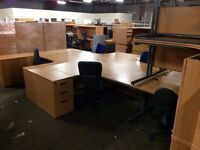 Job lot oak and beech desks