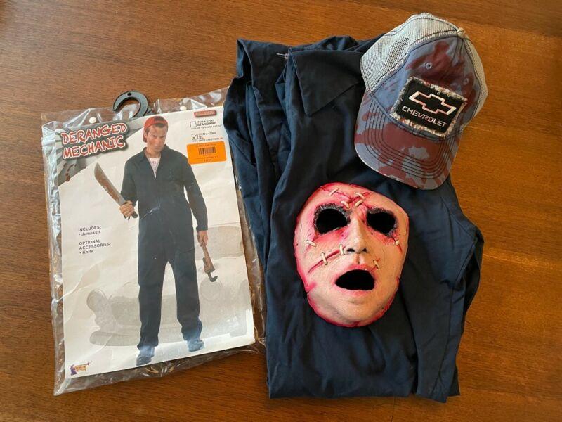 Deranged Mechanic Jumpsuit Michael Myers Fancy Dress Halloween Adult Costume Hat