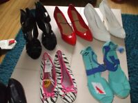 WOMENS SHOES SIZE 5, NEW WITH TAGS, NEW WITHOUT TAGS, 8 PAIRS, flats,heels, boots,MOSTLY GEORGE, £15