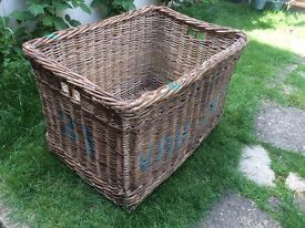 Vintage large industrial decorative laundry wicker basket