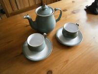 DENBY TEA POT AND TWO CUPS AND SAUCERS