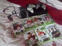 Xbox 360 and 2 controllers and games