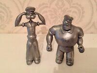 Pewter POPEYE & BRUTUS barware bar set - Corkscrew & Bottle opener - Heavy Figurines