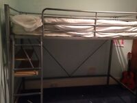 Metal High Sleeper Bed Frame with futon chair