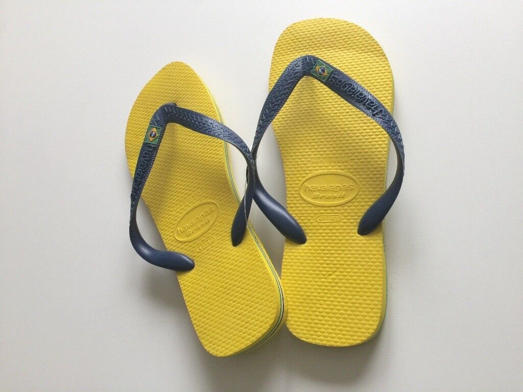 86ae23120 GENUINE Havaianas Flip Flops- Brasil Flag Logo- Yellow Blue- Men UK size  8 9- UNUSED