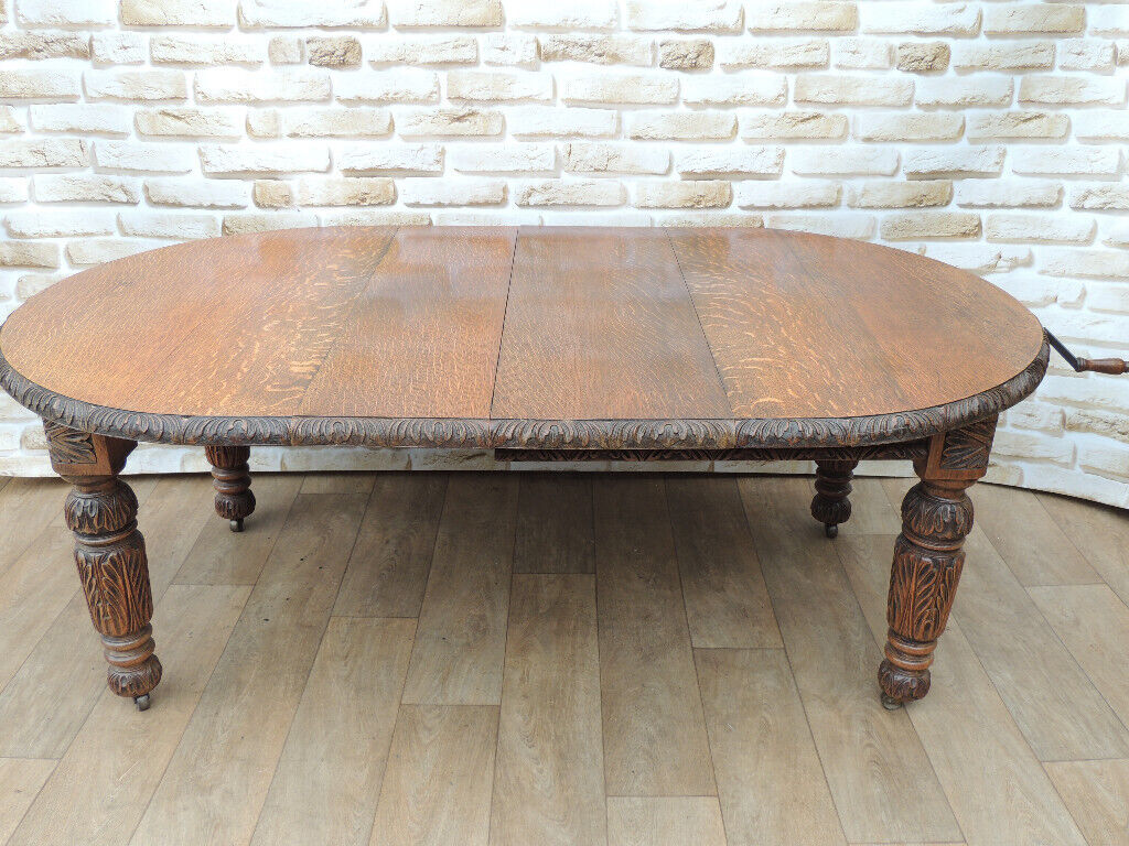 Antique Dining Table With Winder Handle