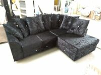 NEW R/H BLACK CRUSHED VELVET CORNER SOFA INCLUDES FREE DELIVERY & FREE MATCHING STOOL FOR £299.99