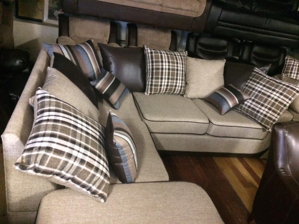 Beautiful brown corner sofa and stool new